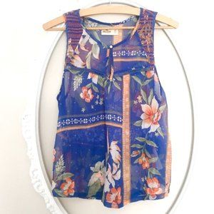 Hollister semi-sheer tropical floral tank top XS